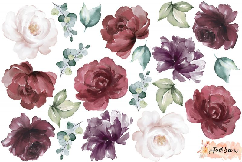 Burgundy Peony & Rose Wall Decals