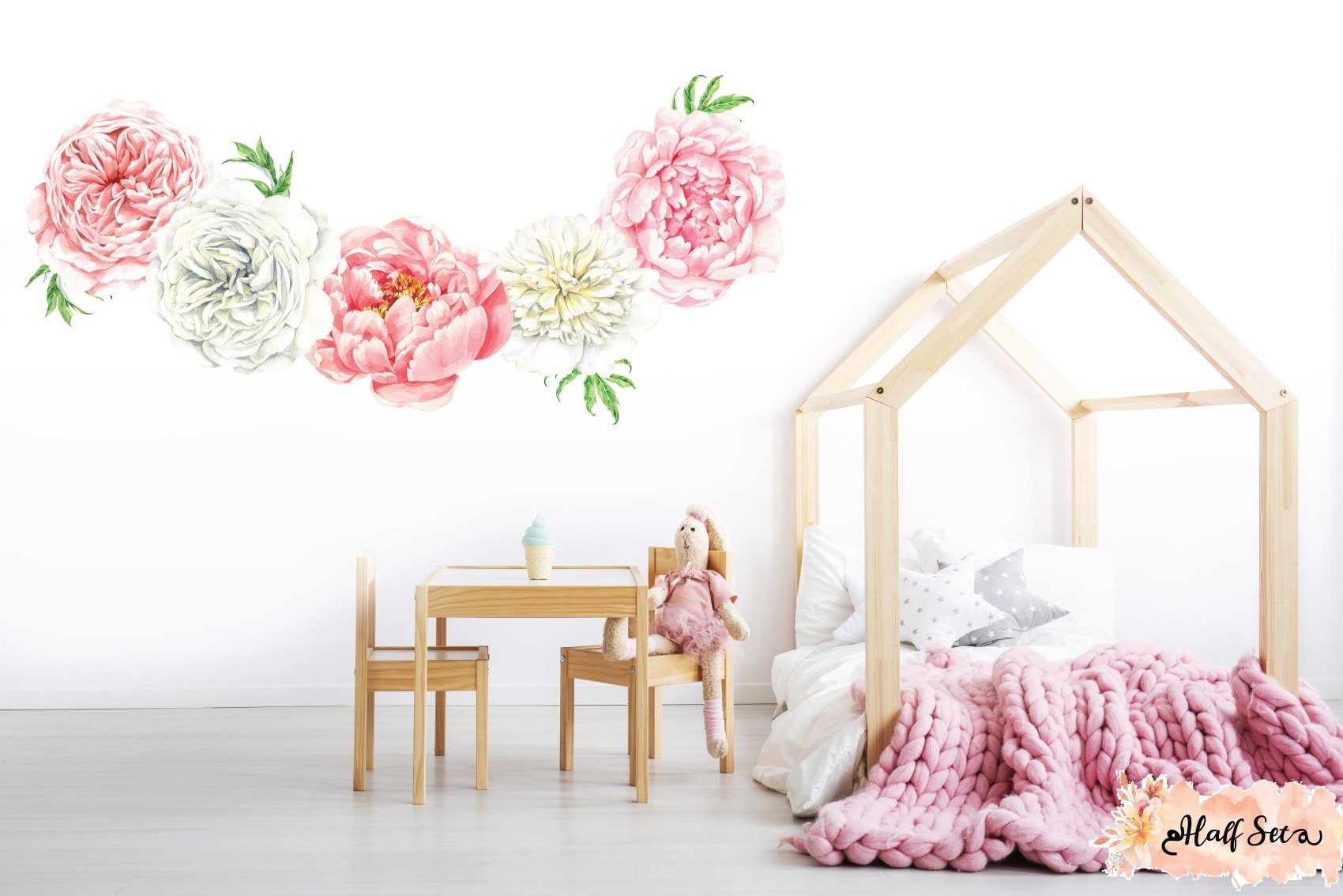 Peony & Rose Blush Wall Decals - Whimsy Wall Decals
