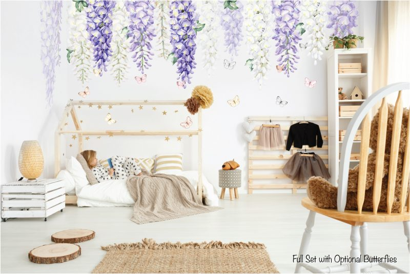 Wisteria wall decals Purple Full set butterfly