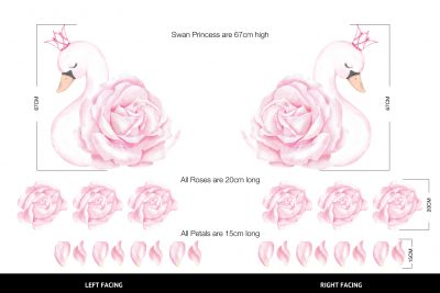 Swan Princess Pink decal Set