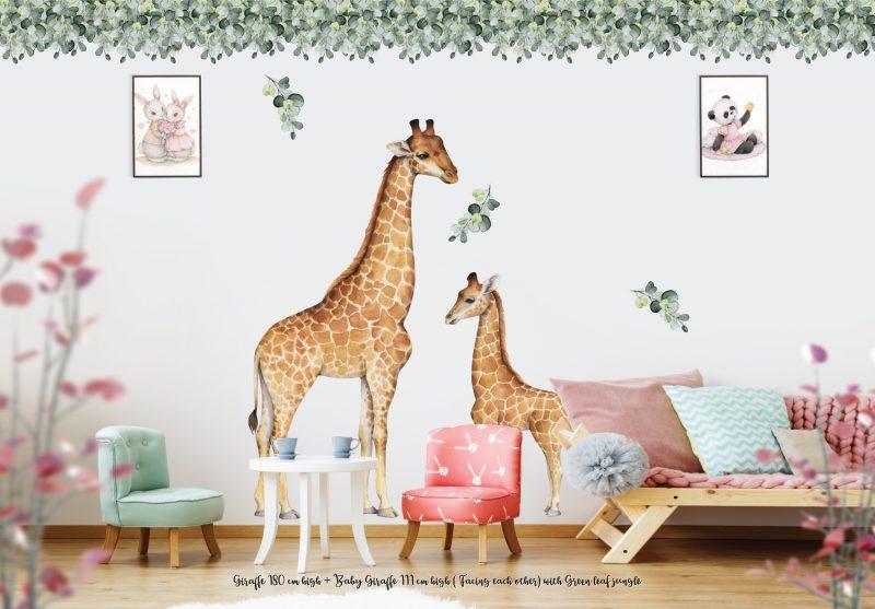Giraffe 180 cm high + Baby Giraffe 111cm high ( Facing each other) with Green leaf jungle