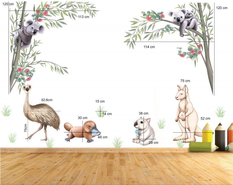 Australian Native Animal Wall decal Set