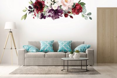 Burgundy Flowers Floral Decal Set
