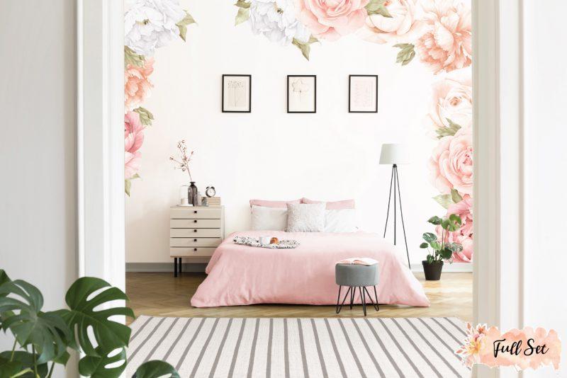 Peach-Peony-&-Rose-Wall-Decals_Full-Set